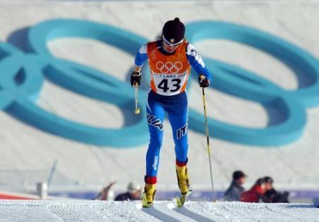 Stefania Belmondo impegnata a Salt Lake City, durante le Olimpiadi Invernali del 2002